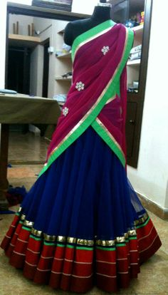 not a fan of the colors, but the skirt is a win for the nalugu- half sari