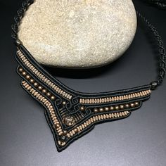 Macrame Beaded necklace/ Bohemian Pendant Necklace/ Tribal Black Necklace/ Choker pendant jewelry/ Macrame Statement Jewelry/OOAK Necklace - Home Macrame Colar, Macrame Necklace, Tribal Necklace, Black Necklace, Macrame Jewelry, Pendant Jewelry, Pendant Necklace, Choker Jewelry, Bohemian Jewelry