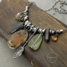 Amber, green & black tourmaline, ancient glass, hessonite and raw sterling silver - necklace