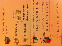 Rubik's cube. My notes on how to solve the last layer of a 3 x 3 cube. It's not the fastest method, but it's very easy to remember ( which is very important for me :-) )  The first two layers are relatively easy n intuitive. Here are the two basic steps for the first two layers (f2l) : 1. Form a white cross at the bottom (4 edge colors need to align with centres at the 4 sides) 2.  From matching pairs on the top layer to replace the unmatched pairs at the corners of the f2l.
