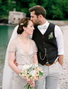 Bride and groom portraits at Elberry Cove, Brixham. Bride in a Jenny Packham gown.