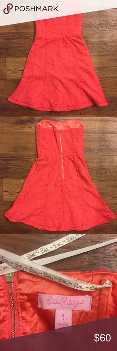 Lilly Pulitzer Vicki coral lace dress size 0 Lined. Back zipper. Plastic boning in bodice. Gorgeous coral color. Gently used. Lilly Pulitzer Dresses Strapless
