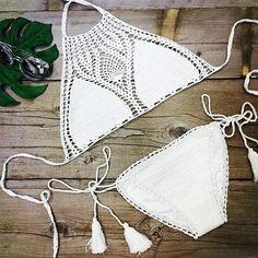 White Halter Crochet Bikini Swimsuits