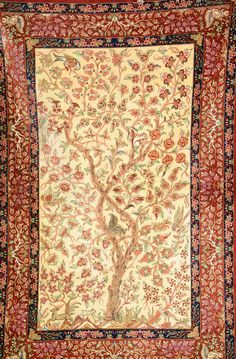 "Silk Qum ""Tree Of Life"", Persia, circa 30 years old, pure silk, approx. 150 x 99 cm"