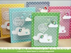 Lawn Fawn Chit Chat stamp set and dies; Lawn Fawn polka dot notecards; Lawn Fawn Spring Showers dies (clouds)