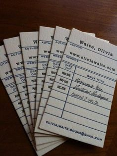 Great cards for romance author Olivia Waite. Those are her book titles in the check out dates. Super cute idea.