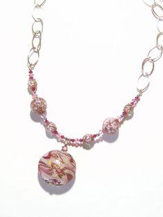 Murano Glass Pink Gold Pendant Chain Necklace, Italian Jewelry, Venetian Glass Jewellery