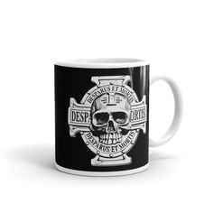 Desparus Et Mortis cross and skull black coffee mug, RTS gaming themed  Whether you're drinking your morning coffee, your evening tea, or something in between – this mug's for you! It's sturdy and glossy with a vivid print that'll withstand the microwave and dishwasher.  • Ceramic • Dishwasher and microwave safe • Beige and glossy • 11fl oz and 15fl oz available  order will be processed by printful and sent to you directly. More of our art & design at:  https:/&#x...