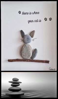 Home Is Where Your Cat Is Pebble Art / Pebble Picture / Stonecraft / Pebbles https://www.etsy.com/uk/listing/455997786/pebble-art-home-is-where-your-cat-is-by?ref=shop_home_feat_1