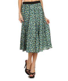 Look at this #zulilyfind! Green Floral Skirt - Women #zulilyfinds