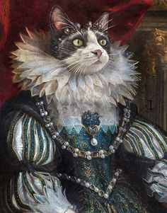 Portrait Your Pet, where our Pets and Art History meet. Fancy Cats, Cute Cats, Pug Art, Cat Aesthetic, Whimsical Art, Spirit Animal, Pet Portraits, Altered Art, Graphic Illustration