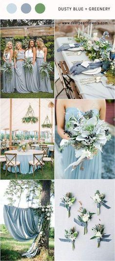 Dusty blue and greenery wedding color palette idea / http://www.deerpearlflowers.com/dusty-blue-wedding-color-combos/ #weddingcolors #weddingideas #bluewedding #dustyblue