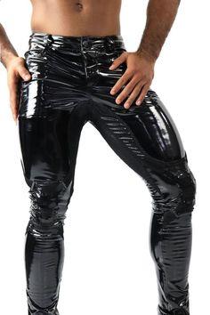 Pvc Trousers, Latex Pants, Mens Leather Pants, Tight Leather Pants, Black Skinny Pants, Black Skinnies, Skinny Jeans, Stylish Mens Fashion, Crew Sweatshirts