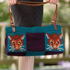 Fox Traveling Bag to Crochet and Cross-Stitch by Toni Rexroat