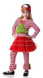 One Posh Kid Holly Tree Petti Dress With Leggings