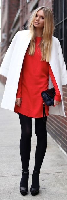 women's fashion and street style.  red dress + cream coat + black tights + black heels.