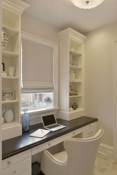 This Desk features Bilotta Collection Cabinetry in a custom white paint. Guest Room Office, Home Office Space, Home Office Design, Home Office Decor, House Design, Home Decor, Office Setup, Office Organization, Office Ideas