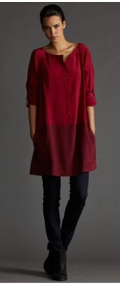 Like this style. Would make it a bit shorter and wear it in the winter over tights or leggings. In the summer would keep this length and wear it over tight shorts to or over the knee. The neck - I would eliminate the cut as the neckline is easily enough to pull over the head. Love the 3/4 sleeves.