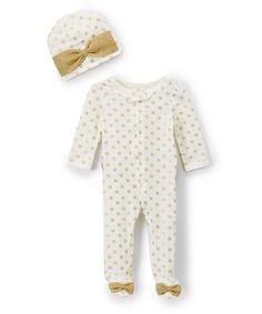 Look what I found on #zulily! Ivory & Gold Stars Footie Set - Infant #zulilyfinds