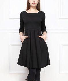 Black Pocket A-Line Dress