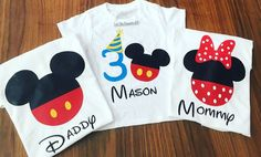 Minnie and mickey mouse shirts- minnie and mickey mouse family shirts- personalized mickey and minnie mouse shirts- custom daddy and mommy shirts Please Read Below SIZE AVAILABLE FOR MOM AND DAD SHIRT SMALL MEDIUM LARGE X-LARGE SIZE AVAILABLE FOR BIRTHDAY GIRL OR BOY ONESIE 12 MONTHS 2/3T 4/5T SEE THE TABLE CHART IN THE PICTURES, YOU CAN SEE WITH ONE YOU FIT ON IT, THE SHIRTS ARE UNISEX ****WHEN YOU PURCHASE THIS LISTING IN THE BOX OF THE NOTES YOU MESSSAGE ME THE SIZE FOR MOMM...