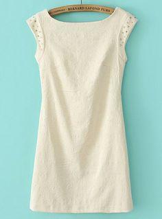 White Scoop Neck Sleeveless Rhinestone Lace Dress US$26.72