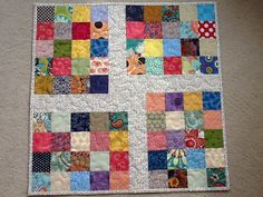 Bright Quilted Patchwork Table Topper Wall by Clothstitched