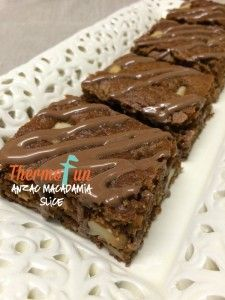 ThermoFun – Anzac and Macadamia Slice Recipe, worth a try? Bellini Recipe, Anzac Biscuits, Decadent Food, Thermomix Desserts, Dessert Recipes, Biscuit Cookies, Yummy Cookies, Chocolate Topping, Vegan Recipes Easy