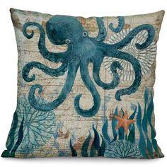 Miracille Sea Turtle Printed Cotton Linen Cushion Cover Marine Ocean Sea Horse Home Decor Pillowcase Octopus Sofa Cushion Case