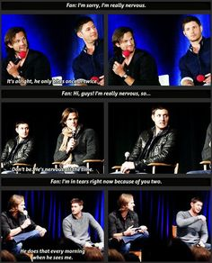 Jensen Ackles and Jared Padalecki making their fans feel comfortable. I love how it's always Jared talking about Jensen, then Jensen just goes with it. Dean Winchester, Winchester Brothers, Supernatural Actors, Supernatural Party, Supernatural Convention, Jared And Jensen, Jensen Ackles Kids, Comic, Super Natural