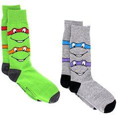 TMNT Teenage Mutant Ninja Turtles Teen Adult Mens 2 pack Crew Socks #TMNT #TeenageMutantNinjaTurtles #Novelty #Socks #Costume #Ninja #DressSocks #Dad #YankeeToyBox