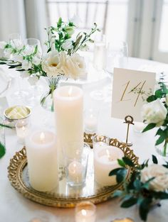 Gold and White Wedding Inspiration | Simple and Elegant | Candle and Floral Centerpieces #weddingcandles