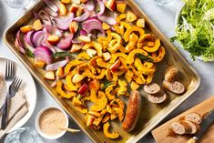 Sheet pan pork sausages with roasted apple and squash This super-easy sheet pan meal of Italian sausages, delicata squash, and apple roasts in the oven while you prepare a simple frisée salad. Dinner: done in about 30 minutes. Roasted Italian Sausage, Italian Sausages, How To Cook Shrimp, How To Cook Eggs, Sausages In The Oven, Pork Sausages, Healthy Meals Delivered, Cooking Chicken Wings, Cooking White Rice
