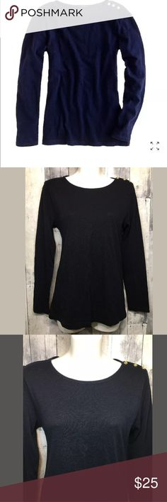 """J.Crew Painter Boatneck Tee Gold Side Buttons NWT J.Crew Painter Boatneck Tee in Navy Blue Gold Side Buttons Sz Medium 37999  Armpit to armpit: 17""""  Length: 24.5""""  Spun from silky slub cotton jersey, our painter tees can be layered but are substantial enough to go it alone (the hallmark of a true wardrobe staple, if you ask us). We're taken with this version's slim body and fully functional golden buttons at the shoulder for a luxe touch of polis J. Crew Tops Tees - Long Sleeve"""