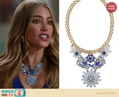 Gloria's blue flower statement necklace on Modern Family. Outfit Details: http://wornontv.net/19450