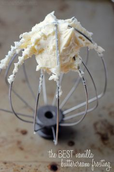 This is the BEST Vanilla Buttercream Frosting. Give it a try, you'll never want cake without it again. Or spoons.