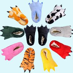 New Winter Warm Soft indoor floor Slippers Women Men Children Shoes Paw  Funny Animal Christmas Monster Dinosaur Claw Plush Home