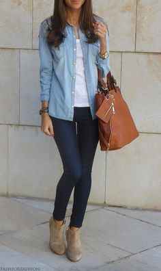 Simple casual outfit: white tee layered with blue button down, dark wash skinnies, ankle boots.