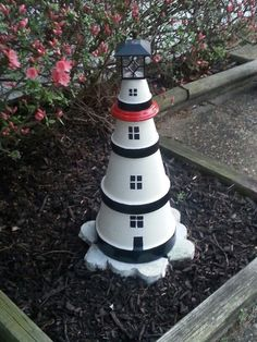 Lighthhouse by Sandy Clay Pot Projects, Clay Pot Crafts, Diy And Crafts, Flower Pot People, Clay Pot People, Clay Flower Pots, Flower Pot Crafts, Clay Pot Lighthouse, Pots D'argile