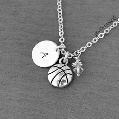 Basketball Necklace Birthstone Initial Necklace by JewelMango, $19.20