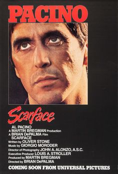 Click to View Extra Large Poster Image for Scarface Scarface Poster, Scarface Movie, Robert Loggia, Charles Durning, Sunday Movies, Oliver Stone, Classic Movie Posters, Online Posters, Michelle Pfeiffer