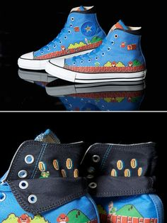 78792e1709ea Super Mario Converse Shoes The Blue Kits would look AMAZING on these! Check  out STICKCONS
