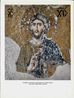 JESUS Christ print BYZANTINE CHRIST from Deesis mosaic 13th Century Vintage Prints Page Framable art prints Scrapbooking Crafts