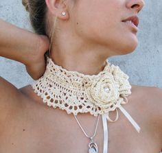 Crocheted glass pearls choker/necklace by kovale on Etsy,