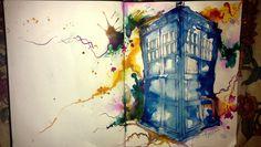 """TARDIS"" in India inks and ballpoint pen. - Imgur"