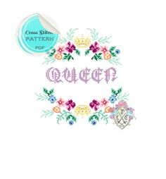 Queen. Modern Floral Cross Stitch Pattern. by plasticlittlecovers