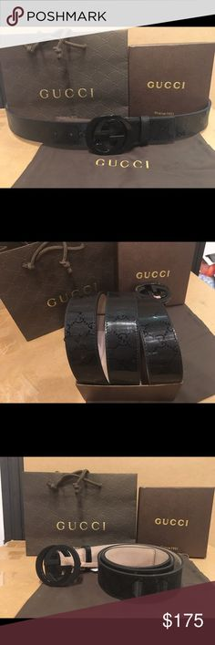 NWT!!! Black Impreme Gucci Belt Gucci black leather belt Authentic brand new - interlocking GG black buckle - comes with tags, box, dust bag, and shopping bag! Gucci Accessories Belts