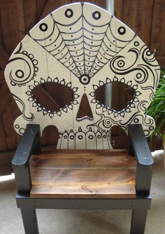 Inspiring The Most Searched Halloween Furniture Design Ideas: Inspiring Futuristic Furniture Wooden Chairs Halloween Design With Unique Shape And Painting On The Back Ideas ~ wegli Skull Furniture, Cool Furniture, Painted Furniture, Furniture Design, Gothic Furniture, Painted Chairs, Wooden Chairs, Rattan Chairs, Room Chairs