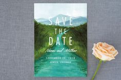 """""""The Adventure Begins"""" - Rustic, Destination Save The Date Cards in Forest by Elly."""
