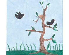 "Birds With Tree: Acrylic, pencil and ink on canvas, 5"" x 5"" x 1.5"". By Mary Mohr Johnson"